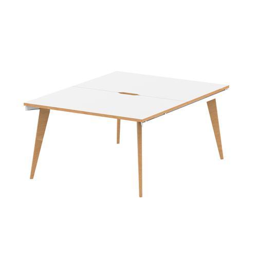 Oslo B2B White Frame Wooden Leg Bench Desk 1200 White With Natural Wood Edge (2 Pod)