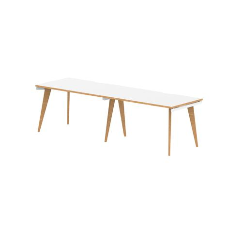 Oslo Single White Frame Wooden Leg Bench Desk 1200 White With Natural Wood Edge (2 Pod)