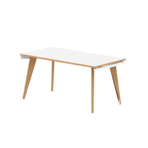 Oslo Single White Frame Wooden Leg Bench Desk 1400 White With Natural Wood Edge