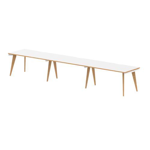 Oslo Single White Frame Wooden Leg Bench Desk 1400 White With Natural Wood Edge (3 Pod)