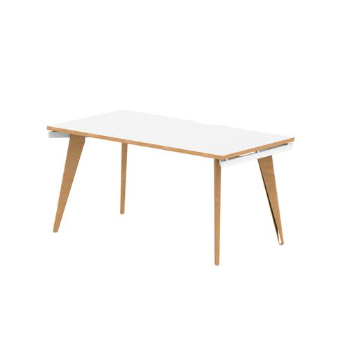 Oslo Single White Frame Wooden Leg Bench Desk 1600 White With Natural Wood Edge