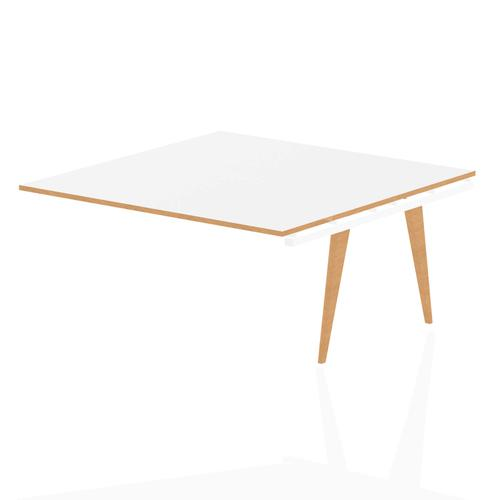 Oslo Square Boardroom Table Ext Kit White Frame Wooden Leg 1600 White With Natural Wood Edge