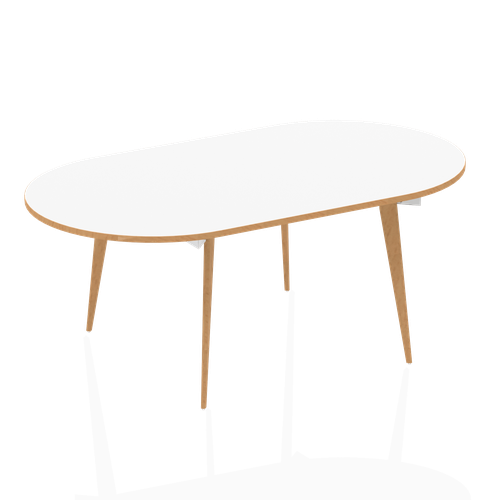 Oslo White Frame Wooden Leg Oval Boardroom Table 2400 White With Natural Wood Edge