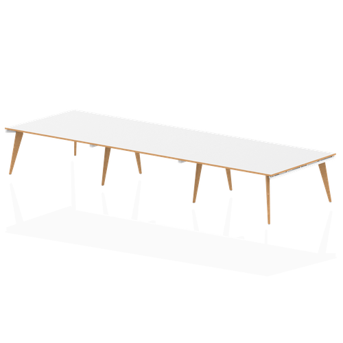 Oslo White Frame Wooden Leg Rectangular Boardroom Table 4800 White With Natural Wood Edge (3 pod)