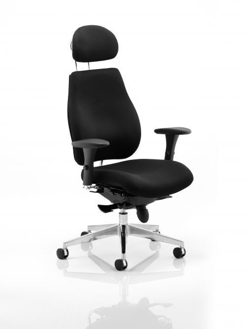 Chiro Plus Chair Black with Arms and Headrest PO000002