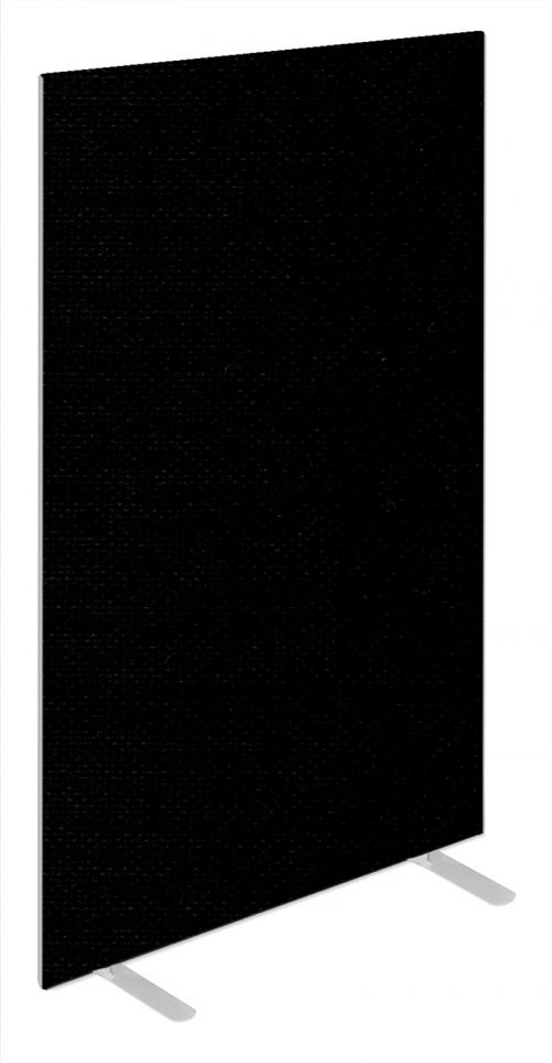Impulse Plus Oblong 1800/600 Floor Free Standing Screen Black Fabric Light Grey Edges