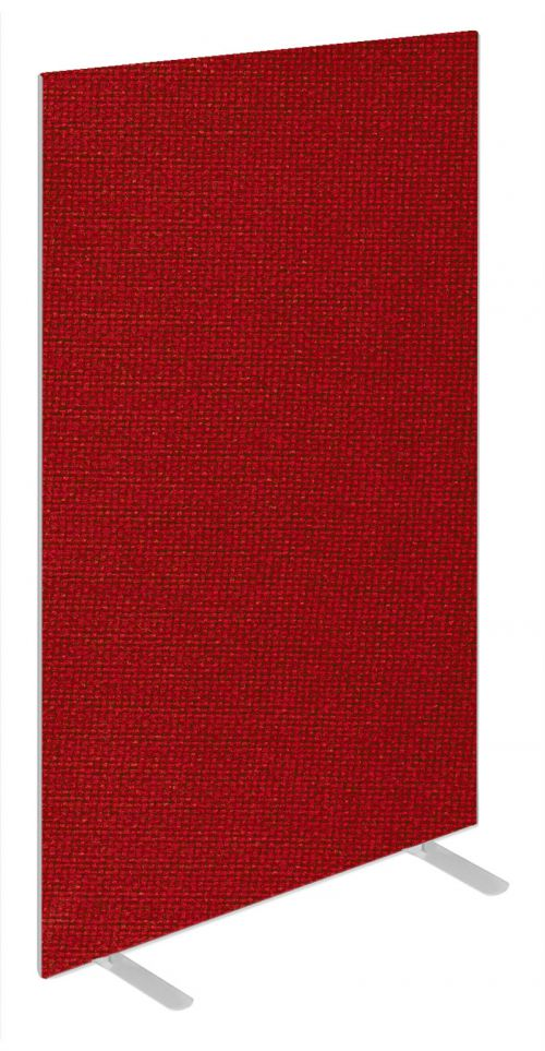 Impulse Plus Oblong 1800/600 Floor Free Standing Screen Burgundy Fabric Light Grey Edges