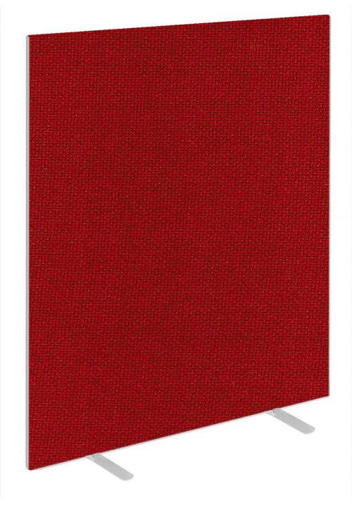Impulse Plus Oblong 1800/1400 Floor Free Standing Screen Burgundy Fabric Light Grey Edges