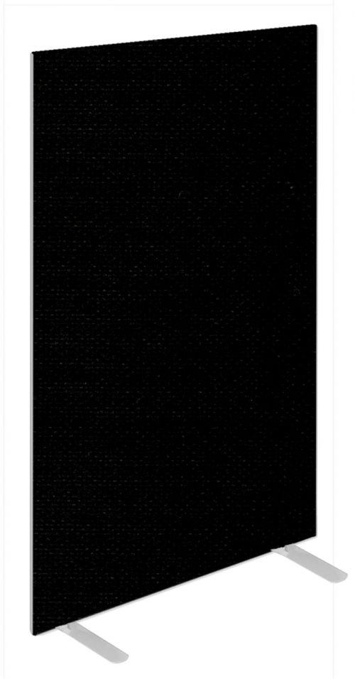 Impulse Plus Oblong 1650/600 Floor Free Standing Screen Black Fabric Light Grey Edges