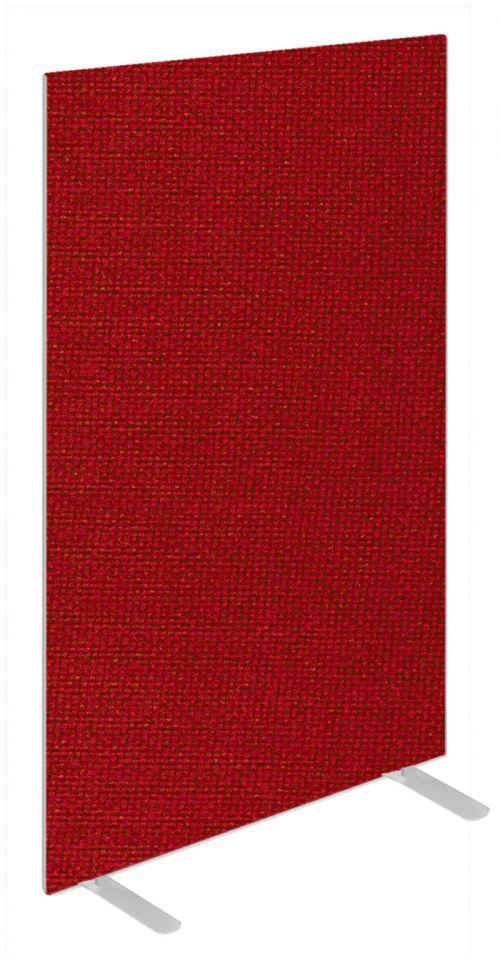 Impulse Plus Oblong 1650/600 Floor Free Standing Screen Burgundy Fabric Light Grey Edges