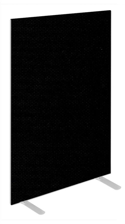Impulse Plus Oblong 1500/800 Floor Free Standing Screen Black Fabric Light Grey Edges