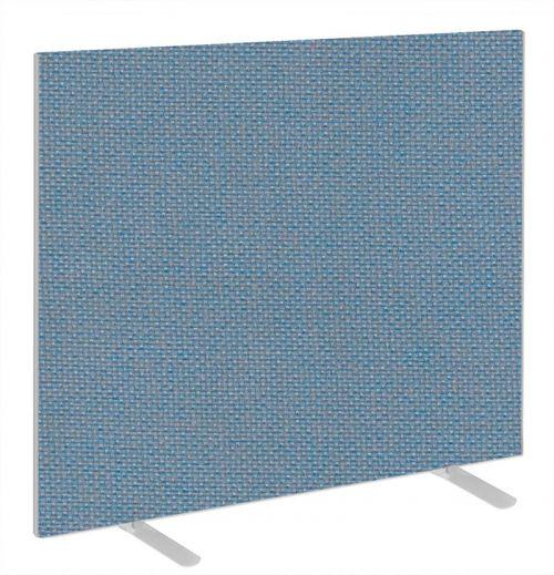 Impulse Plus Oblong 1200/1000 Floor Free Standing Screen Sky Blue Fabric Light Grey Edges
