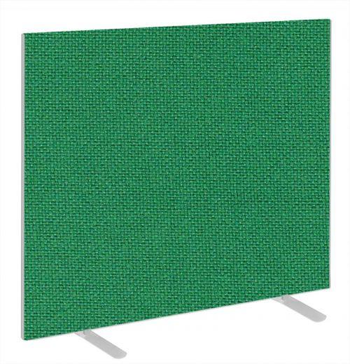 Impulse Plus Oblong 1200/1400 Floor Free Standing Screen Palm Green Fabric Light Grey Edges