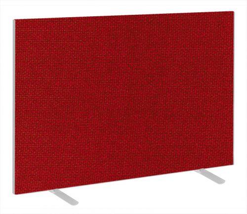 Impulse Plus Oblong 1200/1500 Floor Free Standing Screen Burgundy Fabric Light Grey Edges