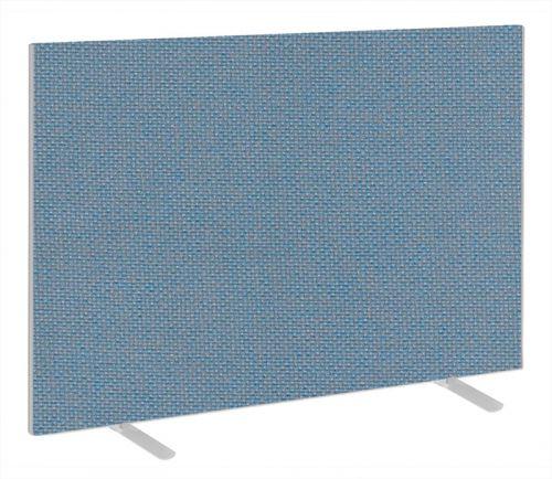 Impulse Plus Oblong 1200/1600 Floor Free Standing Screen Sky Blue Fabric Light Grey Edges