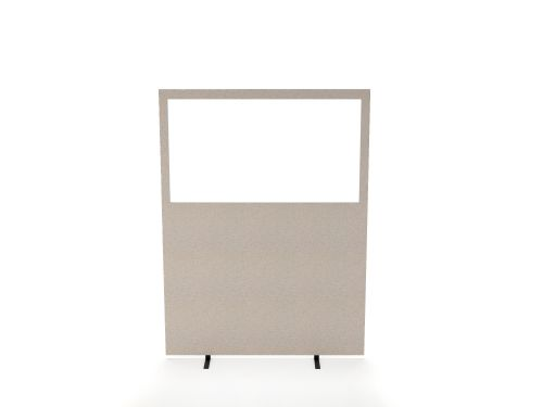 Impulse Plus Clear Half Vision 1800/1600 Floor Free Standing Screen Light Grey Fabric Light Grey Edges