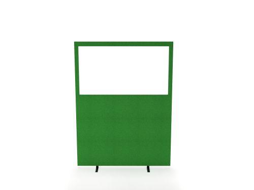 Impulse Plus Clear Half Vision 1800/1600 Floor Free Standing Screen Palm Green Fabric Light Grey Edges