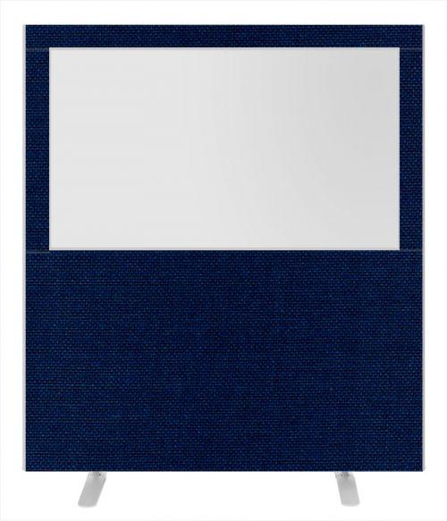 Impulse Plus Clear Half Vision 1800/1600 Floor Free Standing Screen Royal Blue Fabric Light Grey Edges