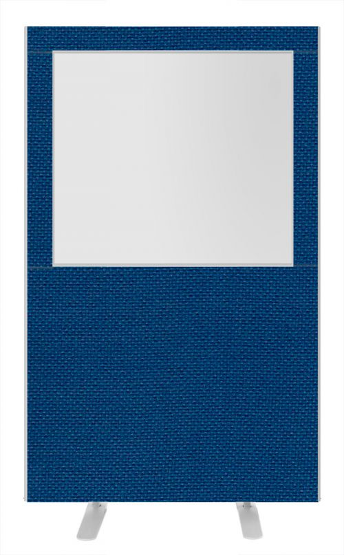 Impulse Plus Clear Half Vision 1800/1200 Floor Free Standing Screen Powder Blue Fabric Light Grey Edges
