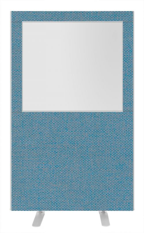 Impulse Plus Clear Half Vision 1800/1200 Floor Free Standing Screen Sky Blue Fabric Light Grey Edges