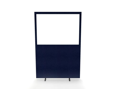 Impulse Plus Clear Half Vision 1650/1600 Floor Free Standing Screen Royal Blue Fabric Light Grey Edges