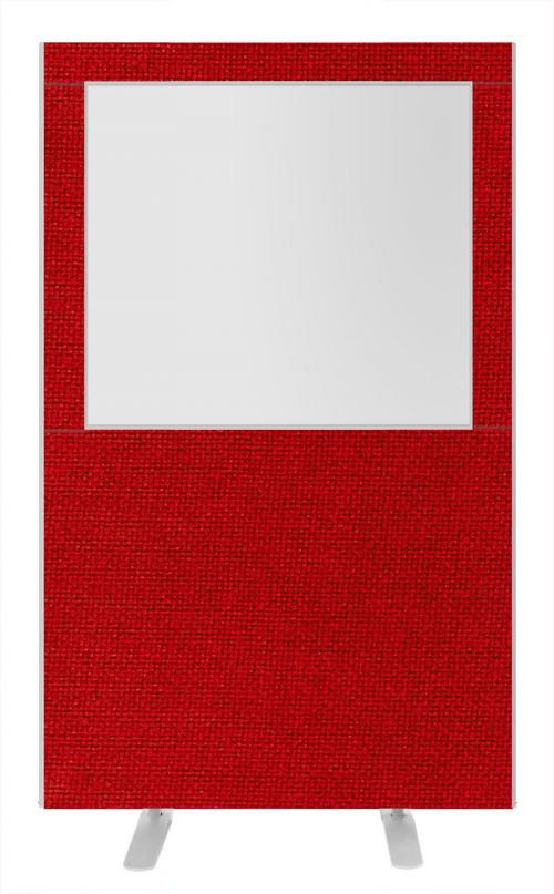 Impulse Plus Clear Half Vision 1650/1200 Floor Free Standing Screen Burgundy Fabric Light Grey Edges