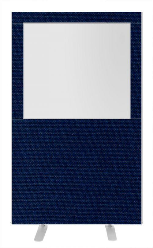 Impulse Plus Clear Half Vision 1650/1200 Floor Free Standing Screen Royal Blue Fabric Light Grey Edges