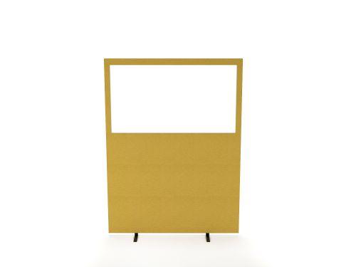 Impulse Plus Clear Half Vision 1500/1600 Floor Free Standing Screen Beige Fabric Light Grey Edges