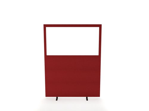 Impulse Plus Clear Half Vision 1500/1600 Floor Free Standing Screen Burgundy Fabric Light Grey Edges