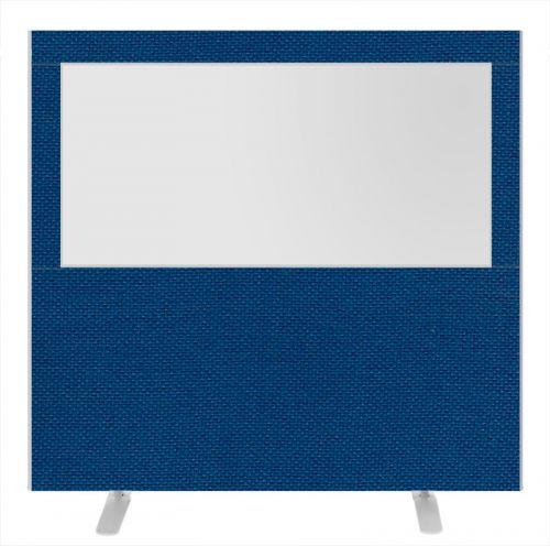 Impulse Plus Clear Half Vision 1500/1600 Floor Free Standing Screen Powder Blue Fabric Light Grey Edges