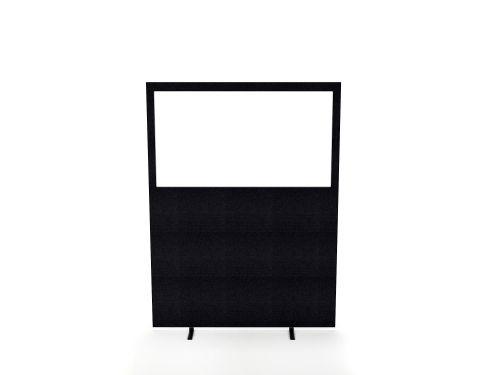 Impulse Plus Clear Half Vision 1500/1200 Floor Free Standing Screen Black Fabric Light Grey Edges
