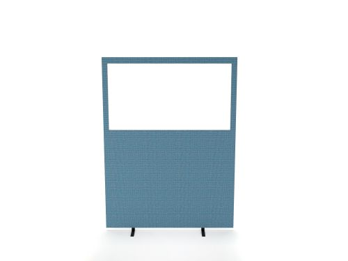 Impulse Plus Clear Half Vision 1500/1200 Floor Free Standing Screen Sky Blue Fabric Light Grey Edges
