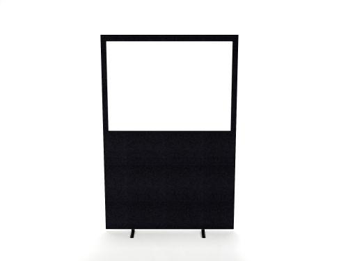 Impulse Plus Clear Half Vision 1200/1600 Floor Free Standing Screen Black Fabric Light Grey Edges