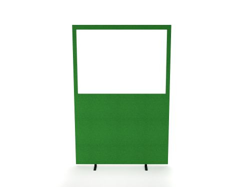 Impulse Plus Clear Half Vision 1200/1600 Floor Free Standing Screen Palm Green Fabric Light Grey Edges