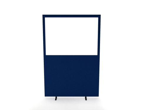 Impulse Plus Clear Half Vision 1200/1600 Floor Free Standing Screen Powder Blue Fabric Light Grey Edges