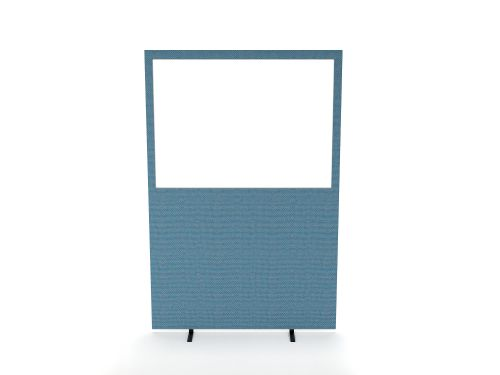 Impulse Plus Clear Half Vision 1200/1600 Floor Free Standing Screen Sky Blue Fabric Light Grey Edges