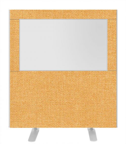Impulse Plus Clear Half Vision 1200/1200 Floor Free Standing Screen Beige Fabric Light Grey Edges