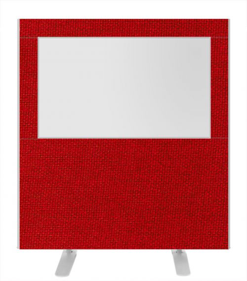 Impulse Plus Clear Half Vision 1200/1200 Floor Free Standing Screen Burgundy Fabric Light Grey Edges