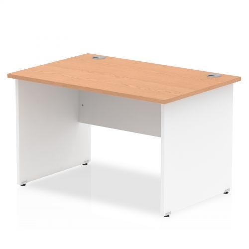 Impulse Panel End 1200 Rectangle Desk Oak Top White Panels