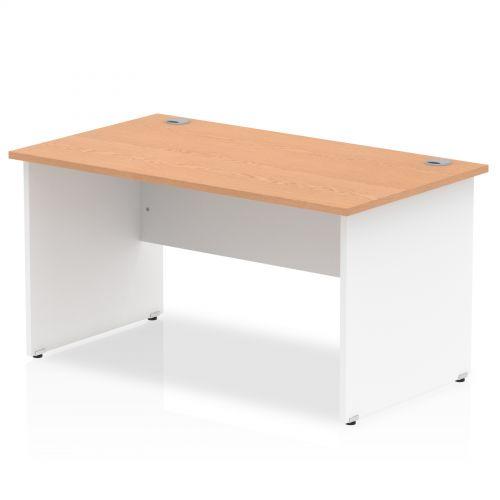 Impulse Panel End 1400 Rectangle Desk Oak Top White Panels