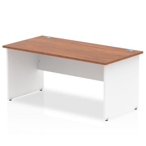 Impulse Panel End 1600 Rectangle Desk Walnut Top White Panels