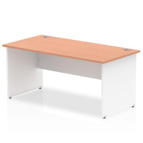 Impulse Panel End 1600 Rectangle Desk Beech Top White Panels