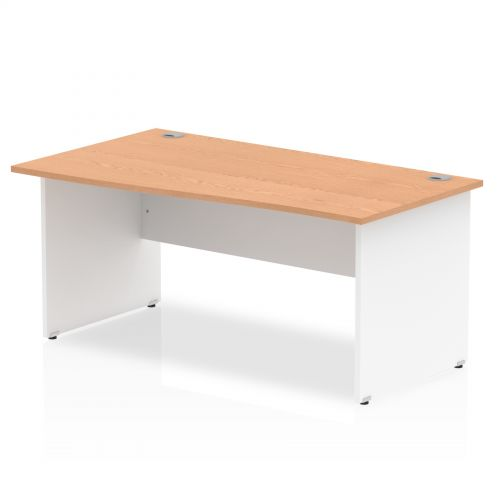 Impulse Panel End 1600 Rectangle Desk Oak Top White Panels