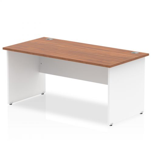 Impulse Panel End 1800 Rectangle Desk Walnut Top White Panels