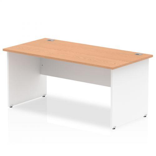 Impulse Panel End 1800 Rectangle Desk Oak Top White Panels
