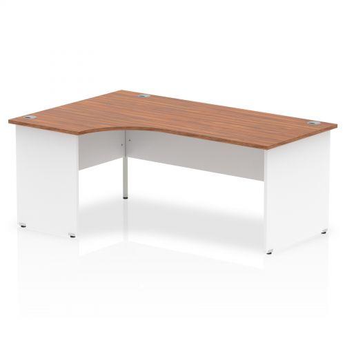 Impulse Panel End 1800 Left Hand Crescent Desk Walnut Top White Panels