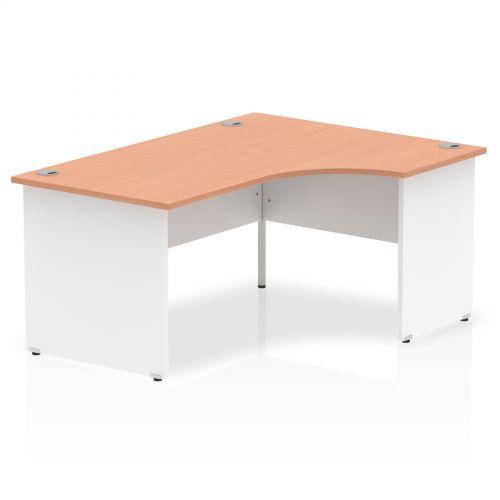 Impulse Panel End 1600 Right Hand Crescent Desk Beech Top White Panels