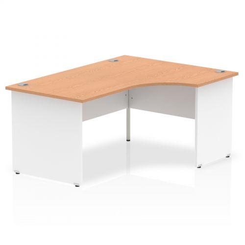 Impulse Panel End 1600 Right Hand Crescent Desk Oak Top White Panels
