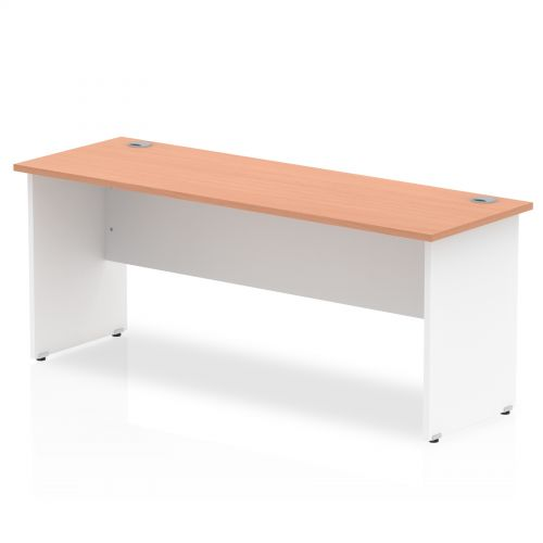 Impulse Panel End 1800/600 Rectangle Desk Beech Top White Panels