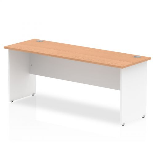 Impulse Panel End 1800/600 Rectangle Desk Oak Top White Panels